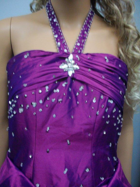 purple long dress with shimmery sequin halter strap
