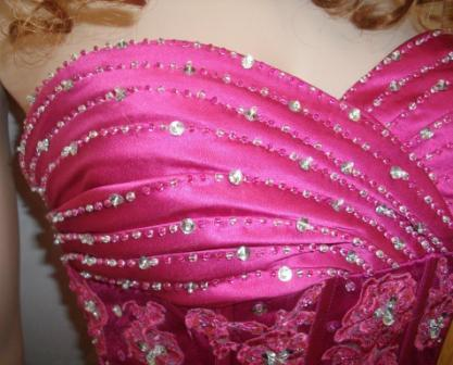 FUSHIA SATIN AND TULLE PROM GOWN