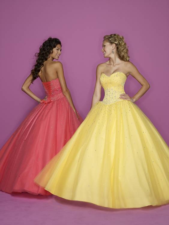 Tropical coral or yellow prom dresses