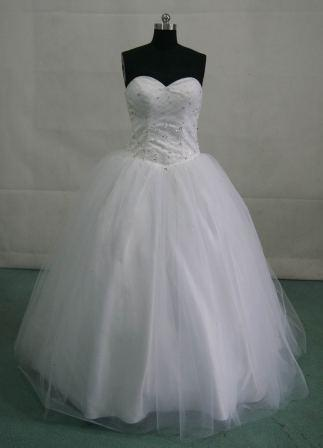 white ball gown with silver and clear beading