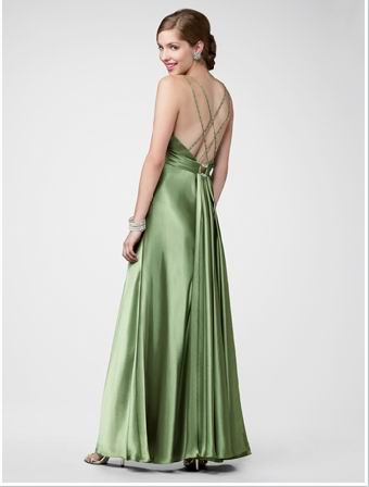 green strappy back dress