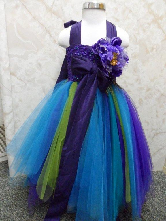 blue green turquoise girls peacock pageant dress