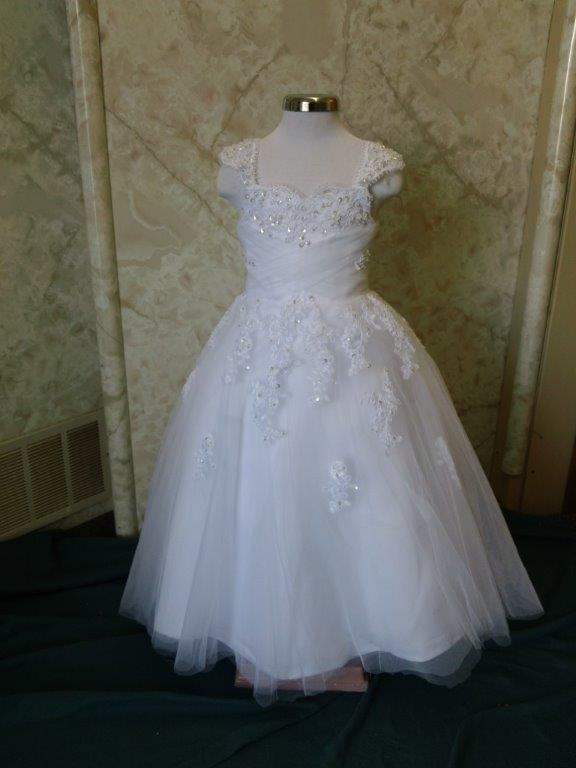 sweetheart flower girl dress with cap sleeves