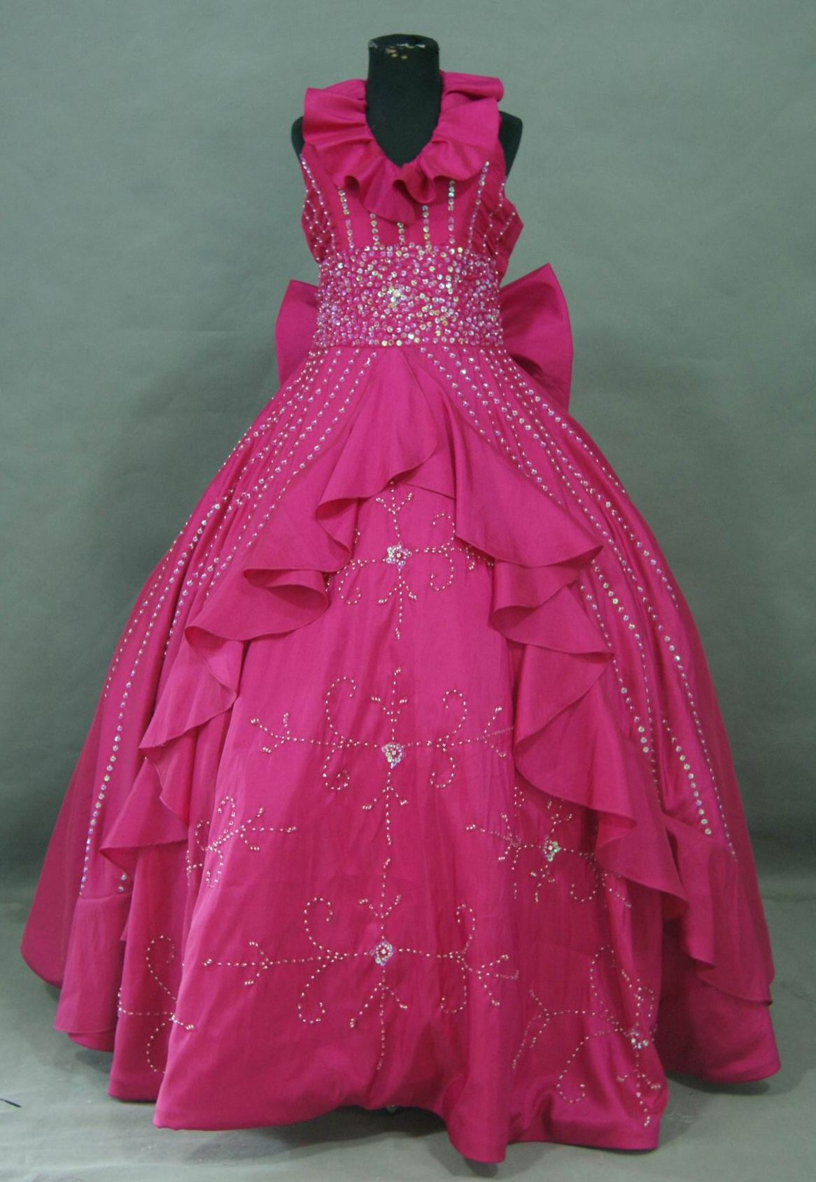 ruffle halter girls pageant dresses