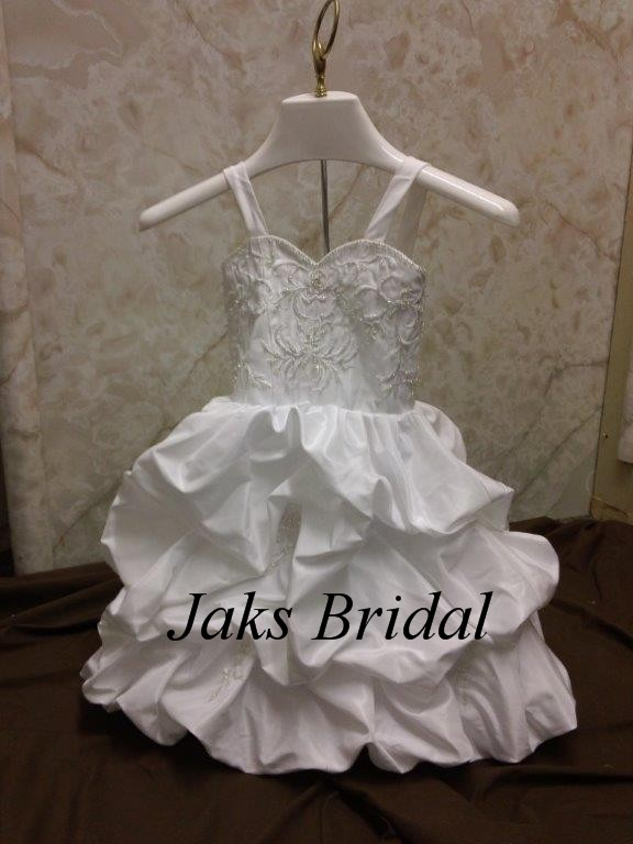 Toddler wedding dress with pickup skirt