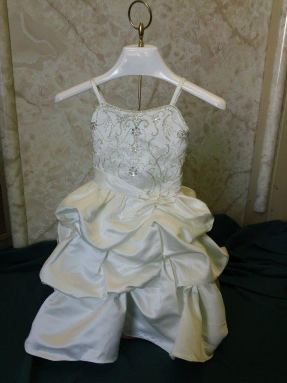 infant bridal gown with pickup skirt