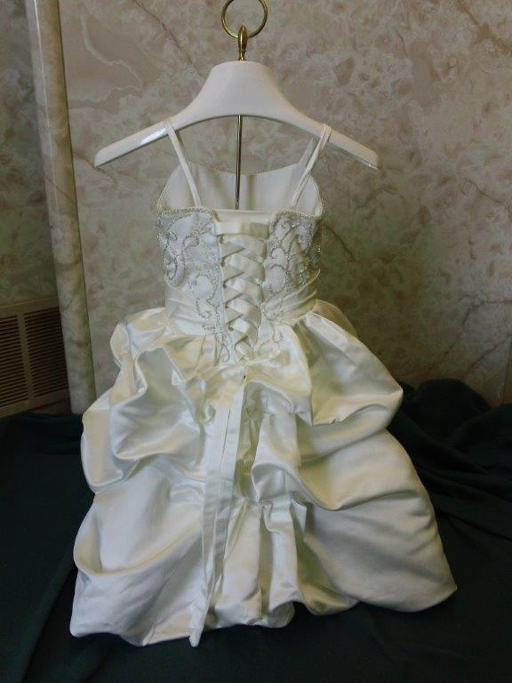 infant mini bridal gown with cascading skirt