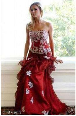 red and white quinceanera ball gown