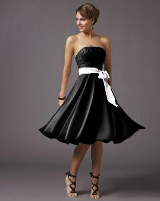 black short dress with white sash
