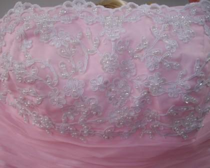 pink prom dress bodice details