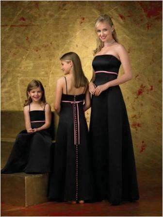 matching flower girl, junior bridesmaid and bridesmaid dresses