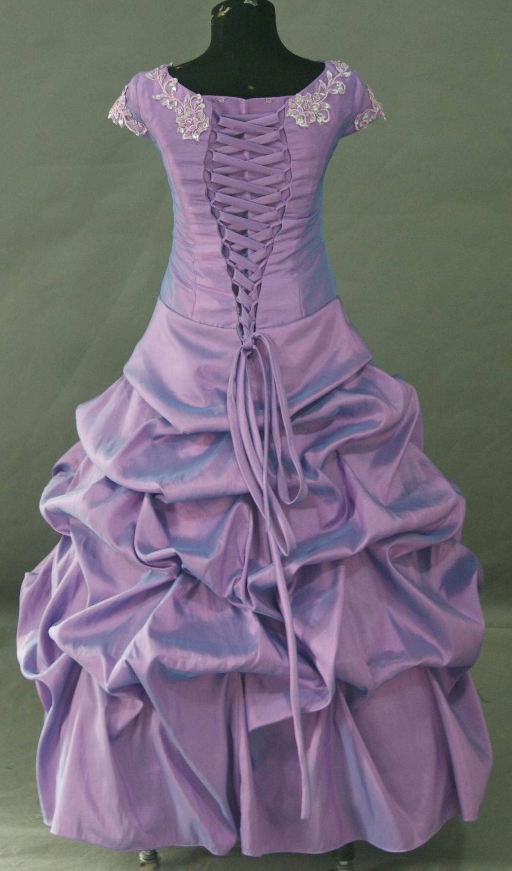 purple childrens ball gown gathered skirt
