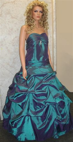 Teal taffeta ball gown with pick up skirt