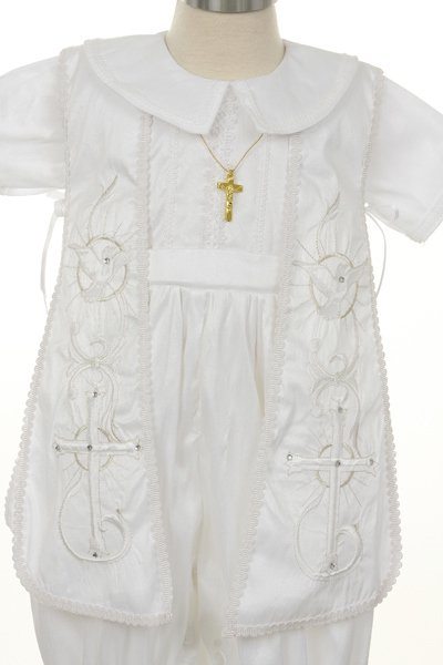 The jacket is complimented with dual cross and dove embroidery