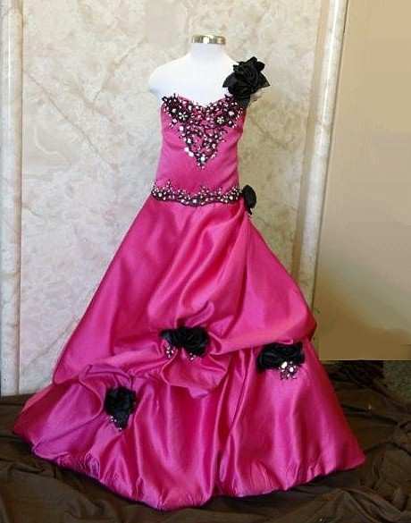 watermelon and black ball gown