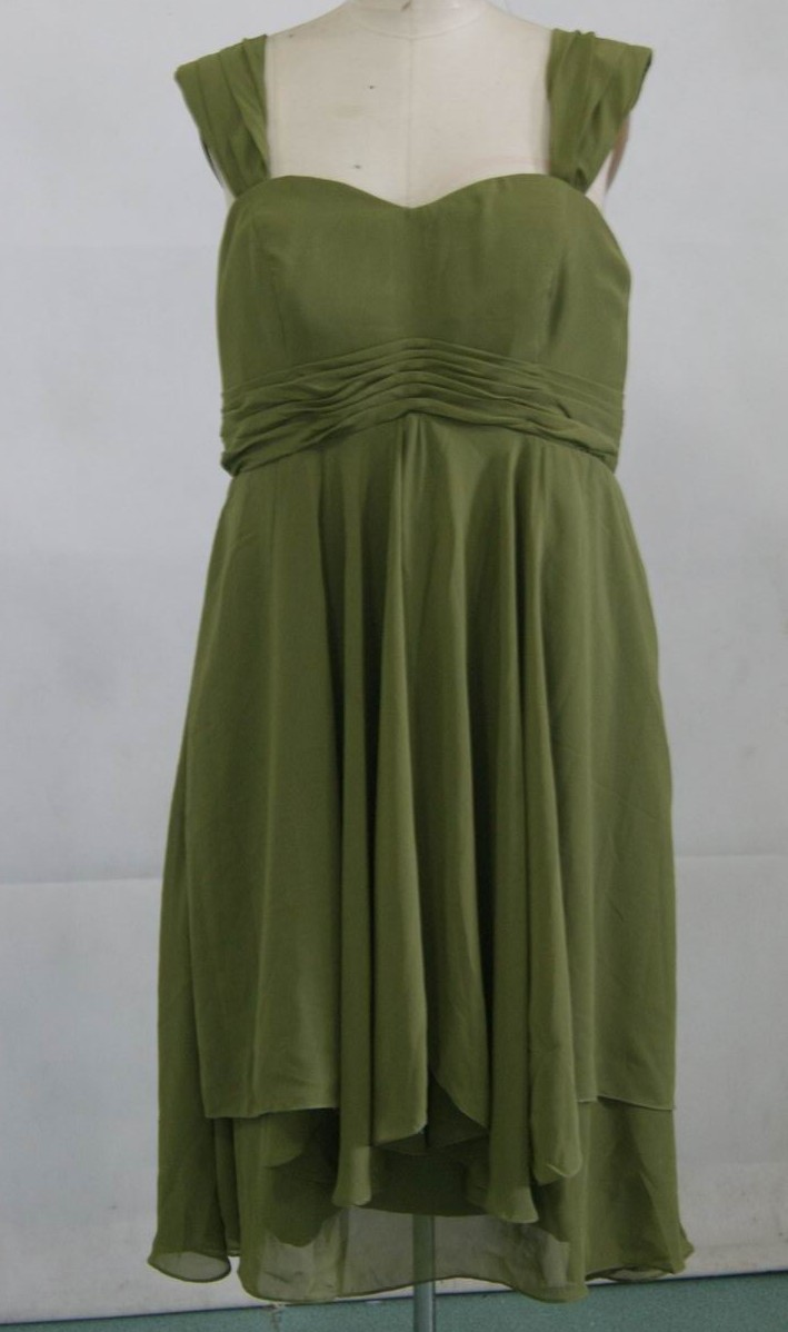 chiffon olive green bridesmaid dress