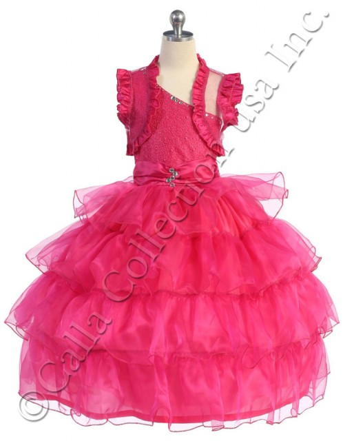 fuchsia one shoulder pageant dresses for girls