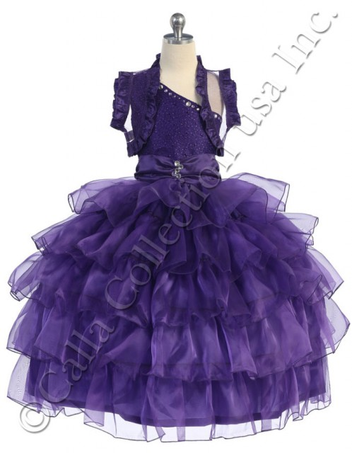 one shoulder Girls purple Christmas dresses