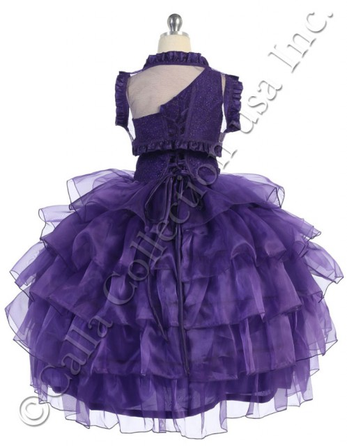 purple pageant dresses with ruffled bolero