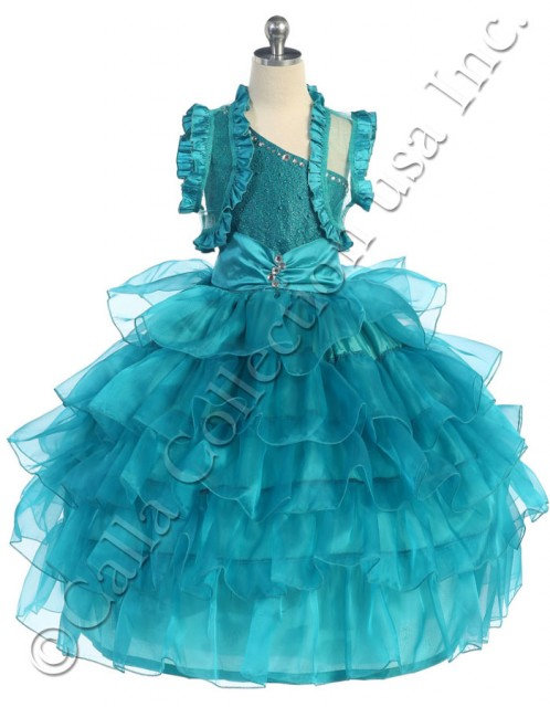 teal green one shoulder pageant dresses with sheer ruffled bolero