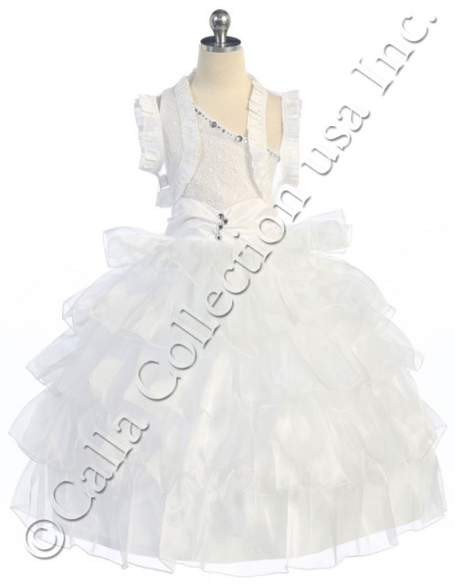 white pageant dresses with ruffled bolero
