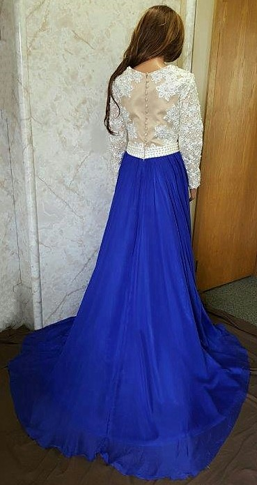 long sleeve lace prom dress
