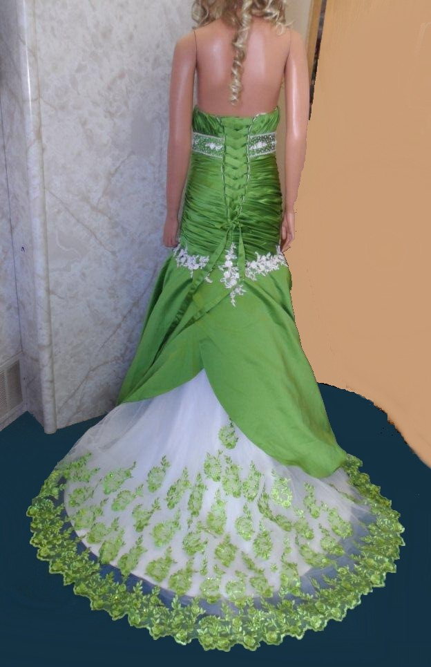 green and white dress with green applique skirt