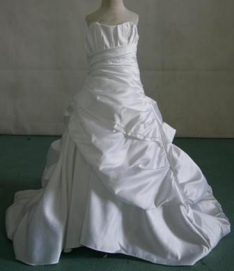 asymmetrically wrapped mini bridal gown