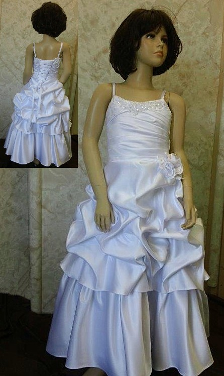 spaghetti strap pick up flower girl dresses