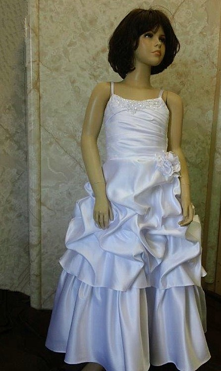 spaghetti strap flower girl dress