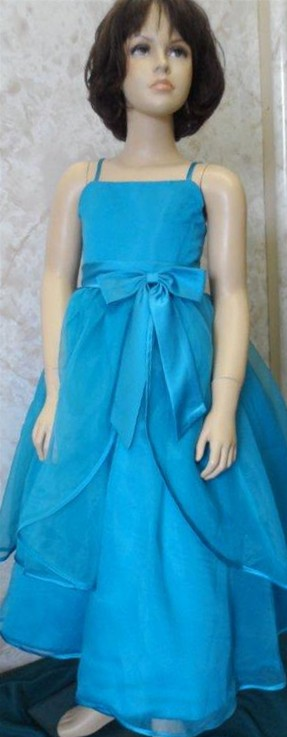 Turquoise Organza Tiered Flower Girl Dress