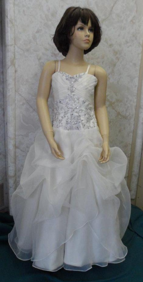 Light champagne pageant gown with silver beading