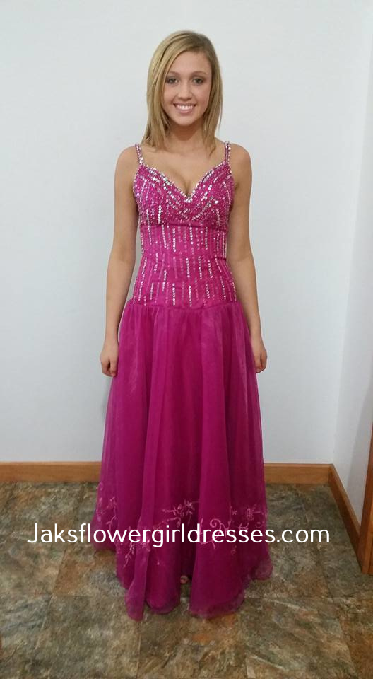 long sequin bust pink prom dresses with straps
