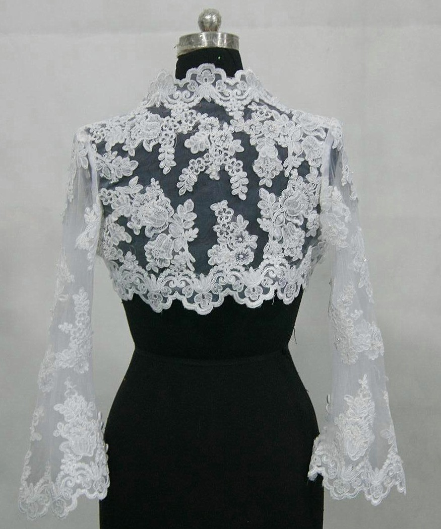 Short lace bridal jacket with long sleeves