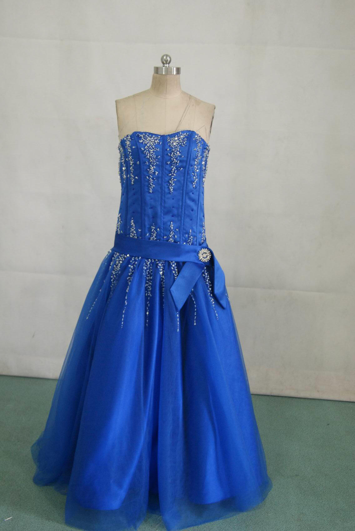 blue and silver pageant gown