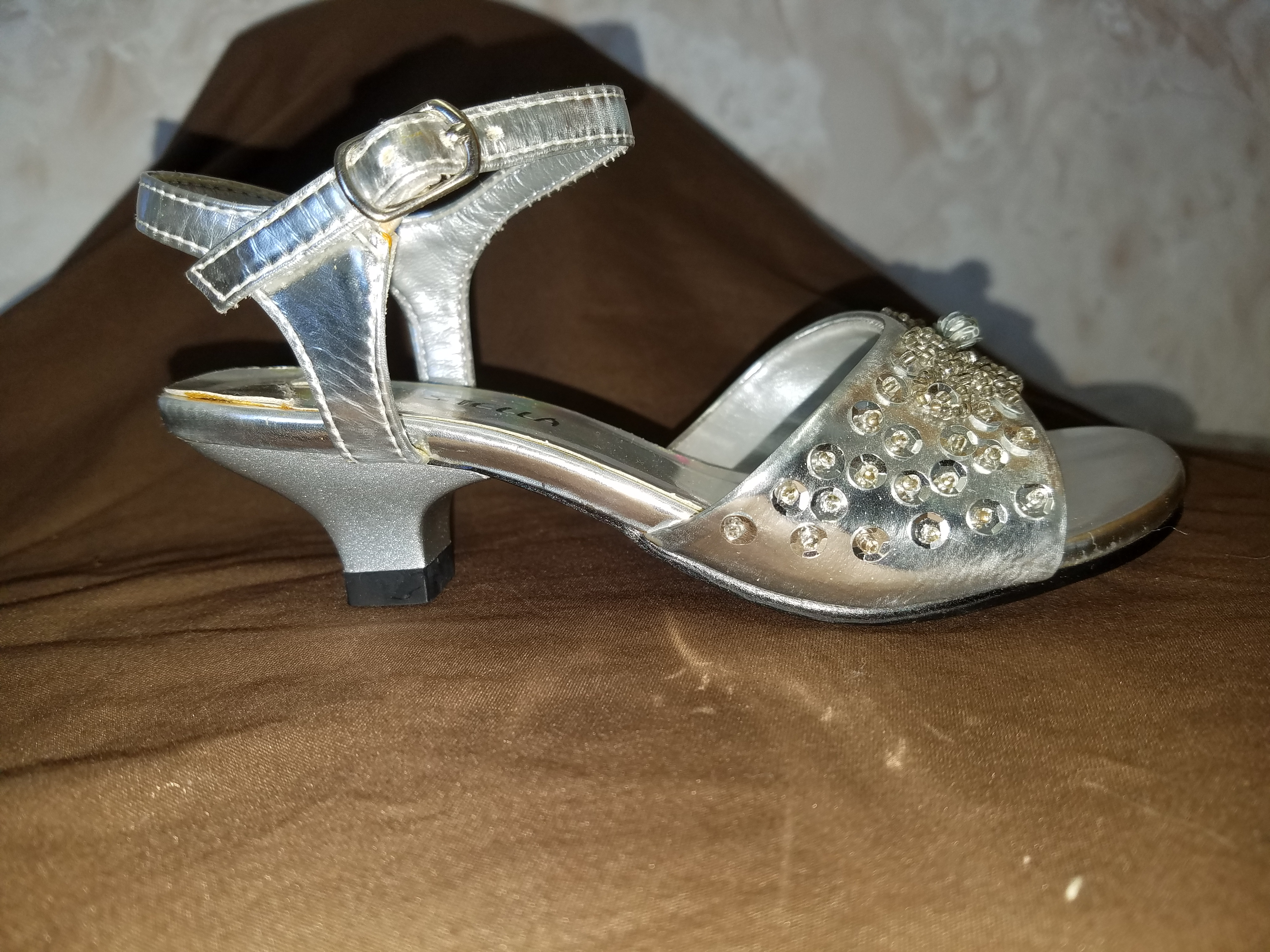 silver flower girl shoes