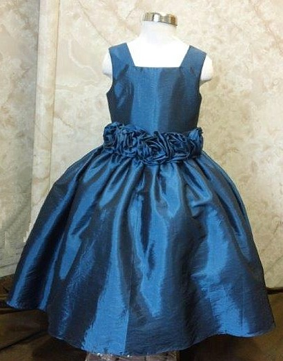 Flower Girl Dress With Rosette Waist