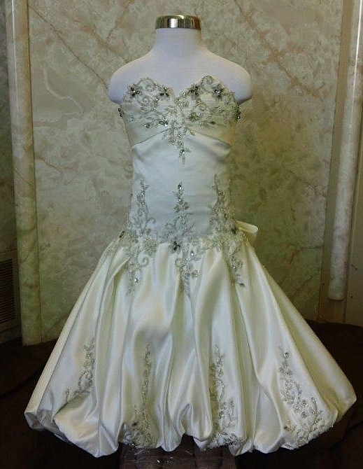Beaded Embroidery mini wedding gown