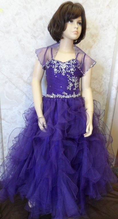 child size purple pageant gowns for girls