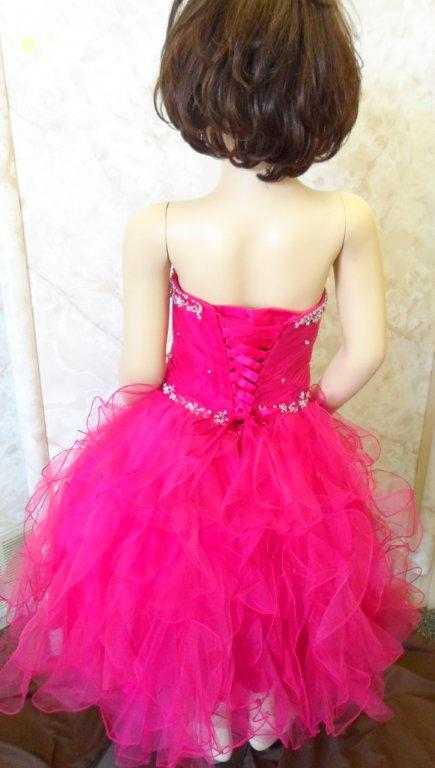 child size fuchsia pageant dress with corset lace up back
