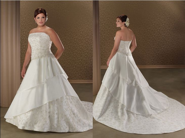 strapless full figure bridal gown