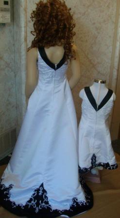 black and white miniature bridal gown
