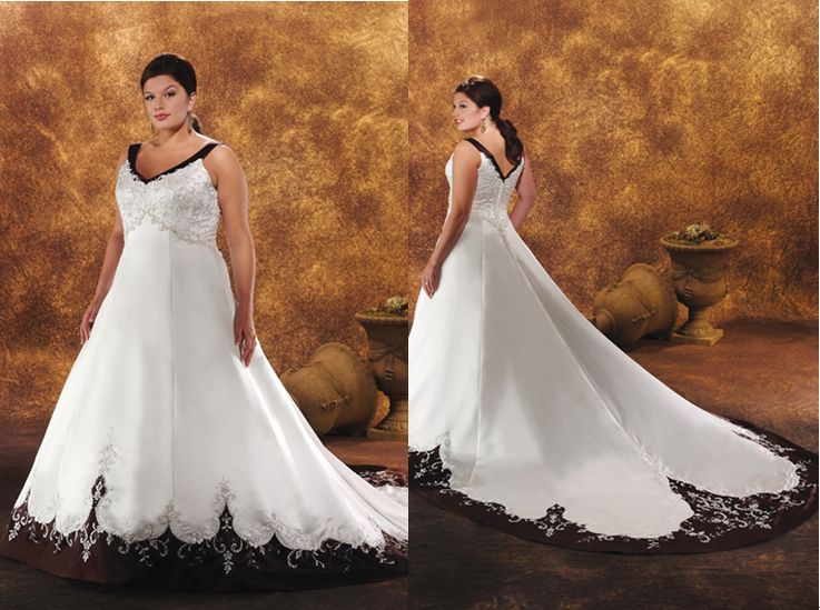 plus size black and white wedding dress