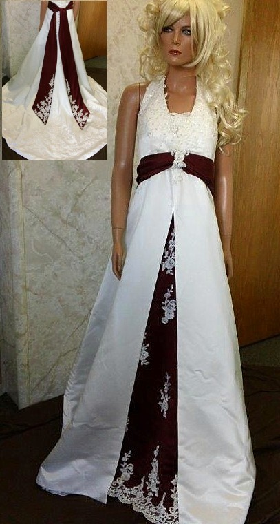Ivory and wine wedding dress