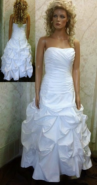Strapless ruched pickup wedding ball gown