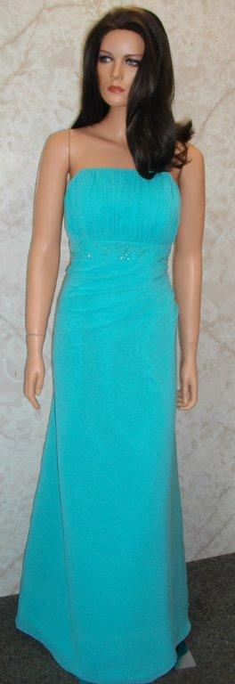Sample Sheath Strapless Teal Colored Bridesmaid Dress