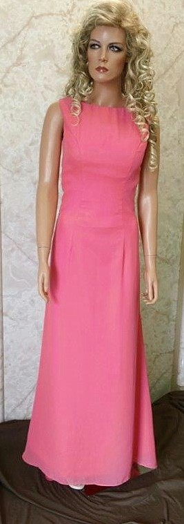 Long chiffon sheath coral bridesmaid dress