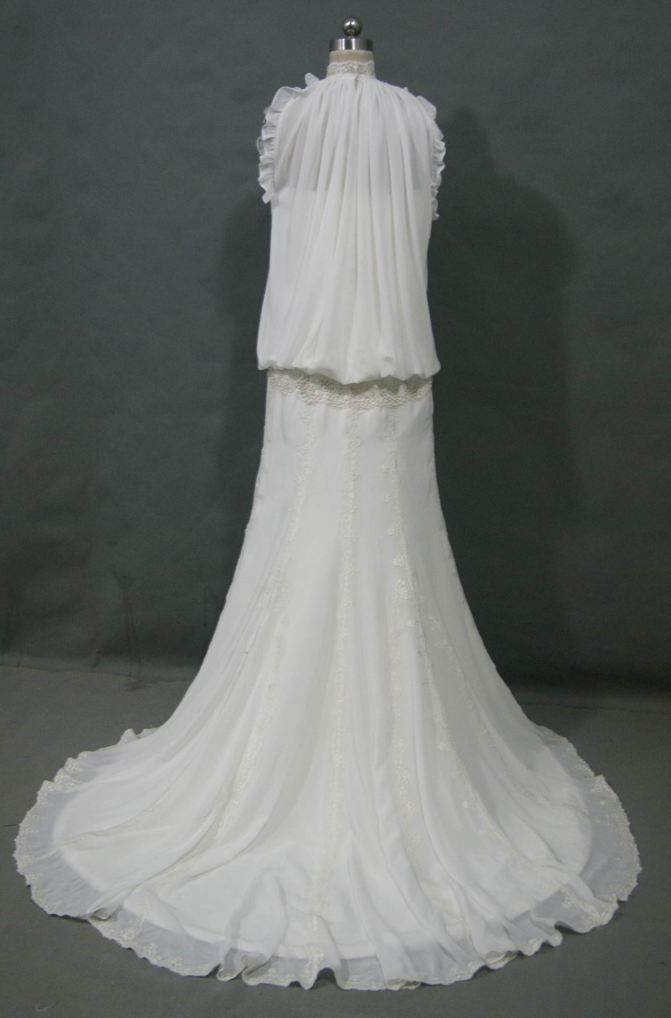 Chiffon and Lace bridal gown