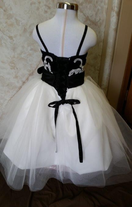 black and ivory flower girl dress