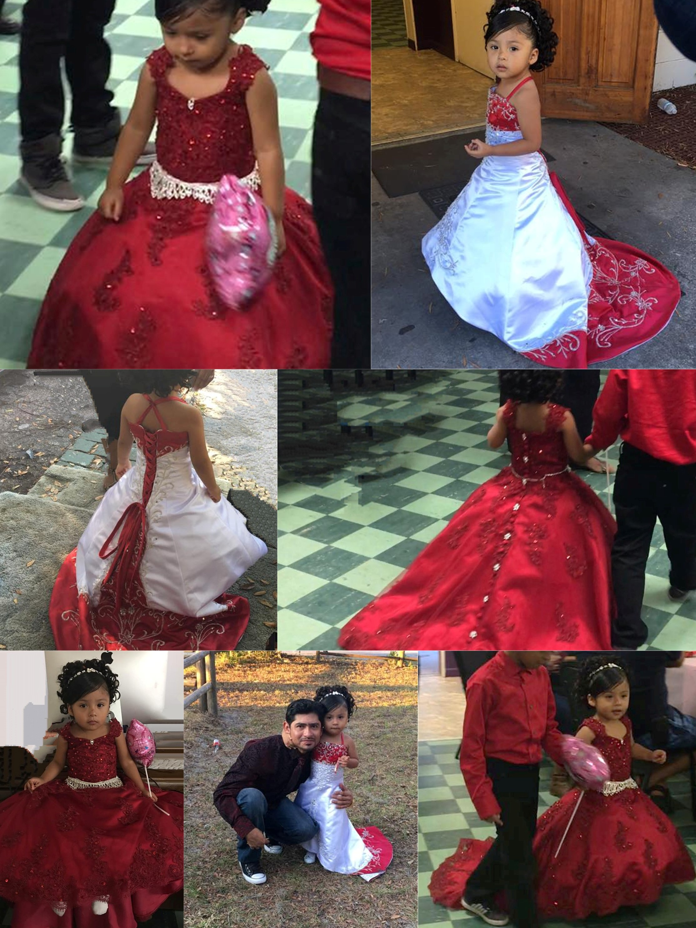 red flower girl dresses with trains